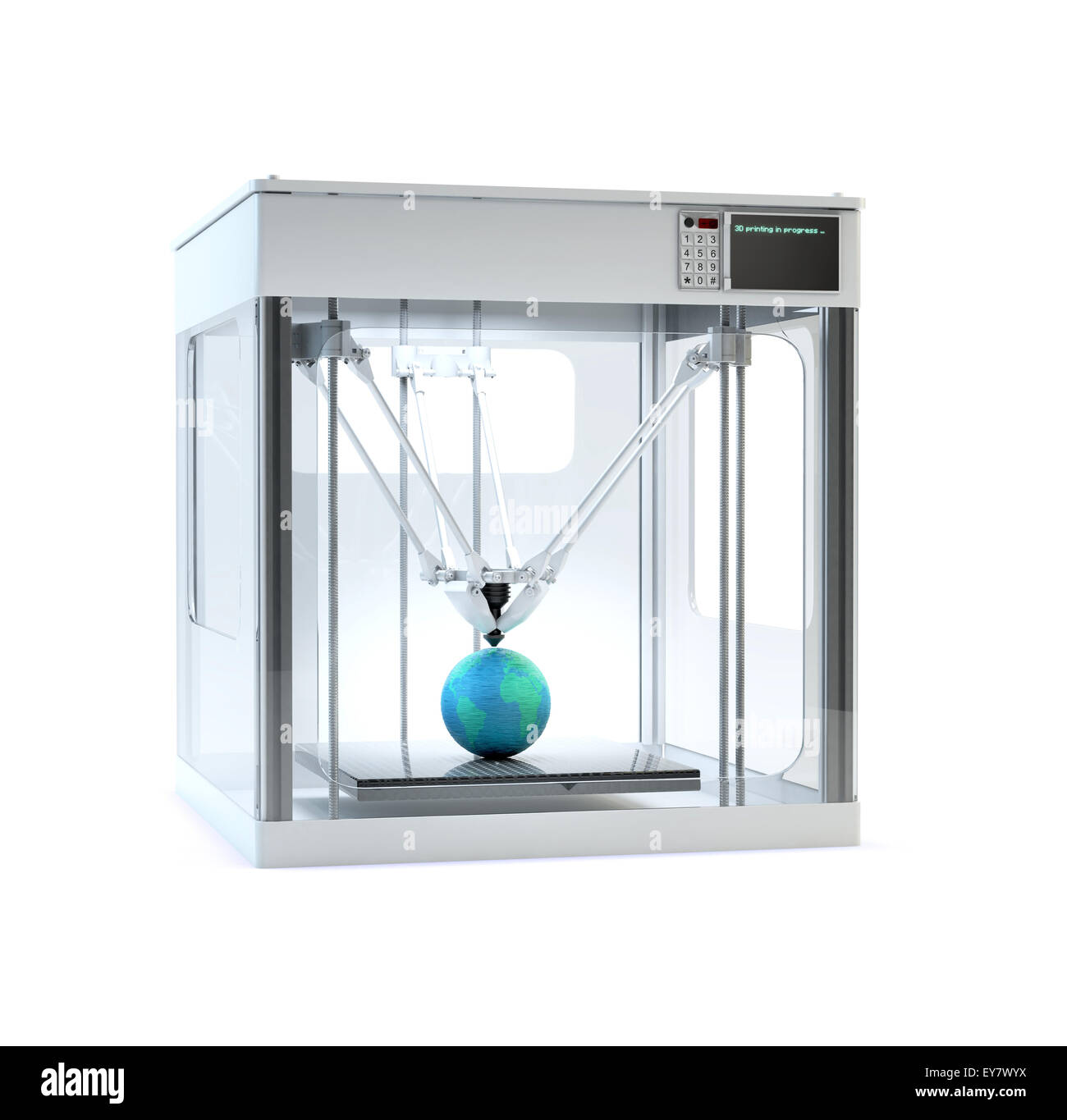 3D printer machine printing a globe - rapid prototyping - Stock Image