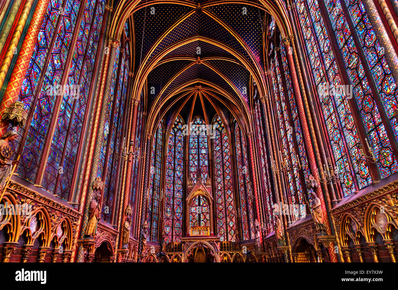 Stained Glass Cathedral Saint Chapelle Paris France. - Stock Image