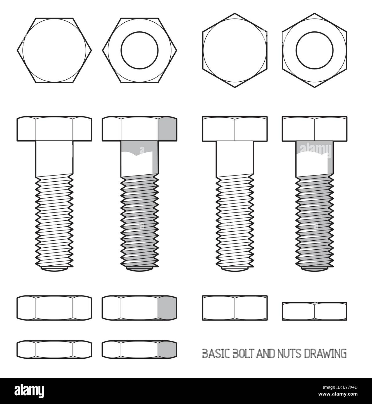 Hexagonal bolt and nuts in orthogonal projection - Stock Image