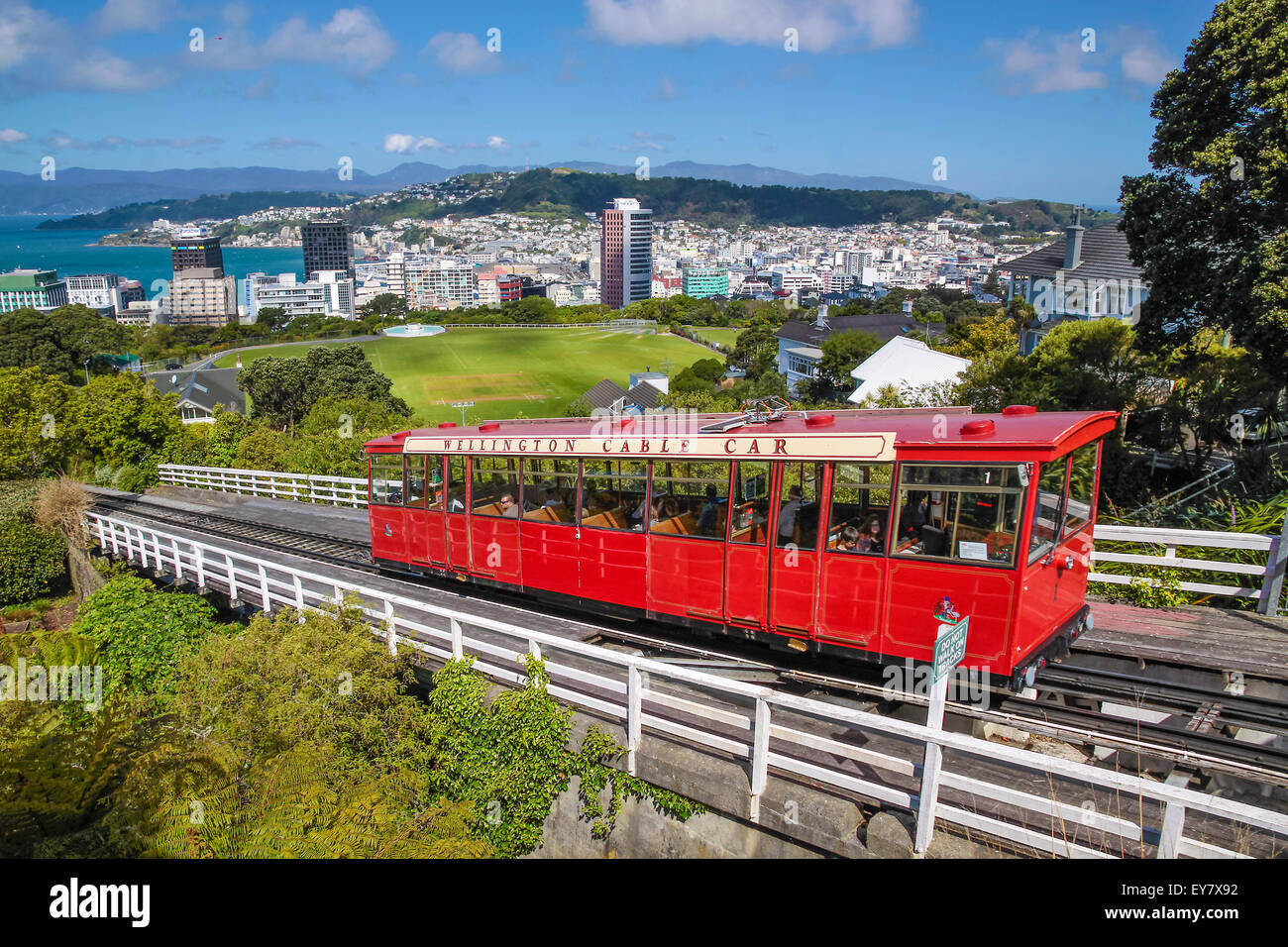 Cable Car to Botancial Garden in Wellington, New Zealand - Stock Image