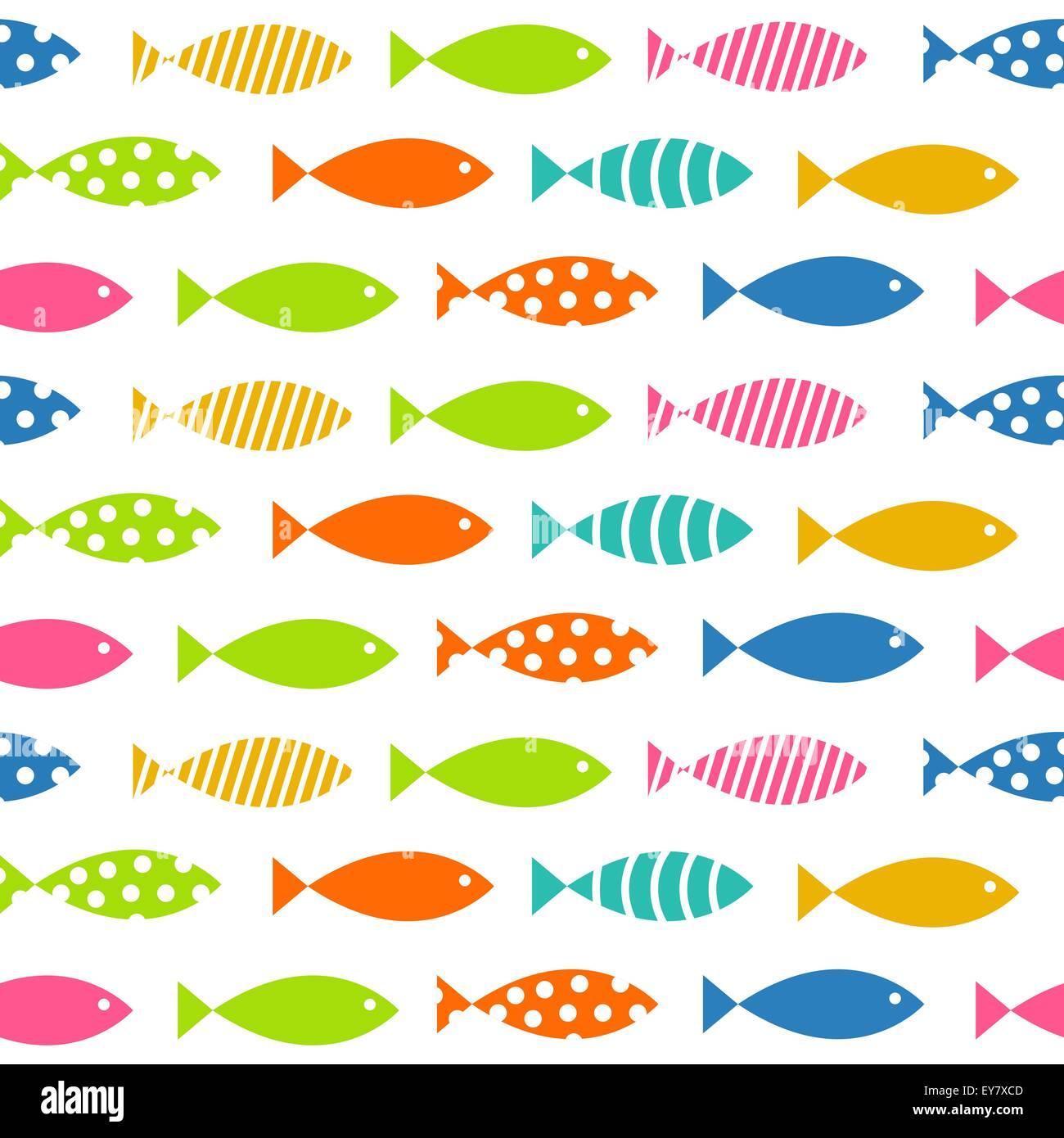 Mult Fish Seamless Pattern Background Vector Illustration - Stock Vector