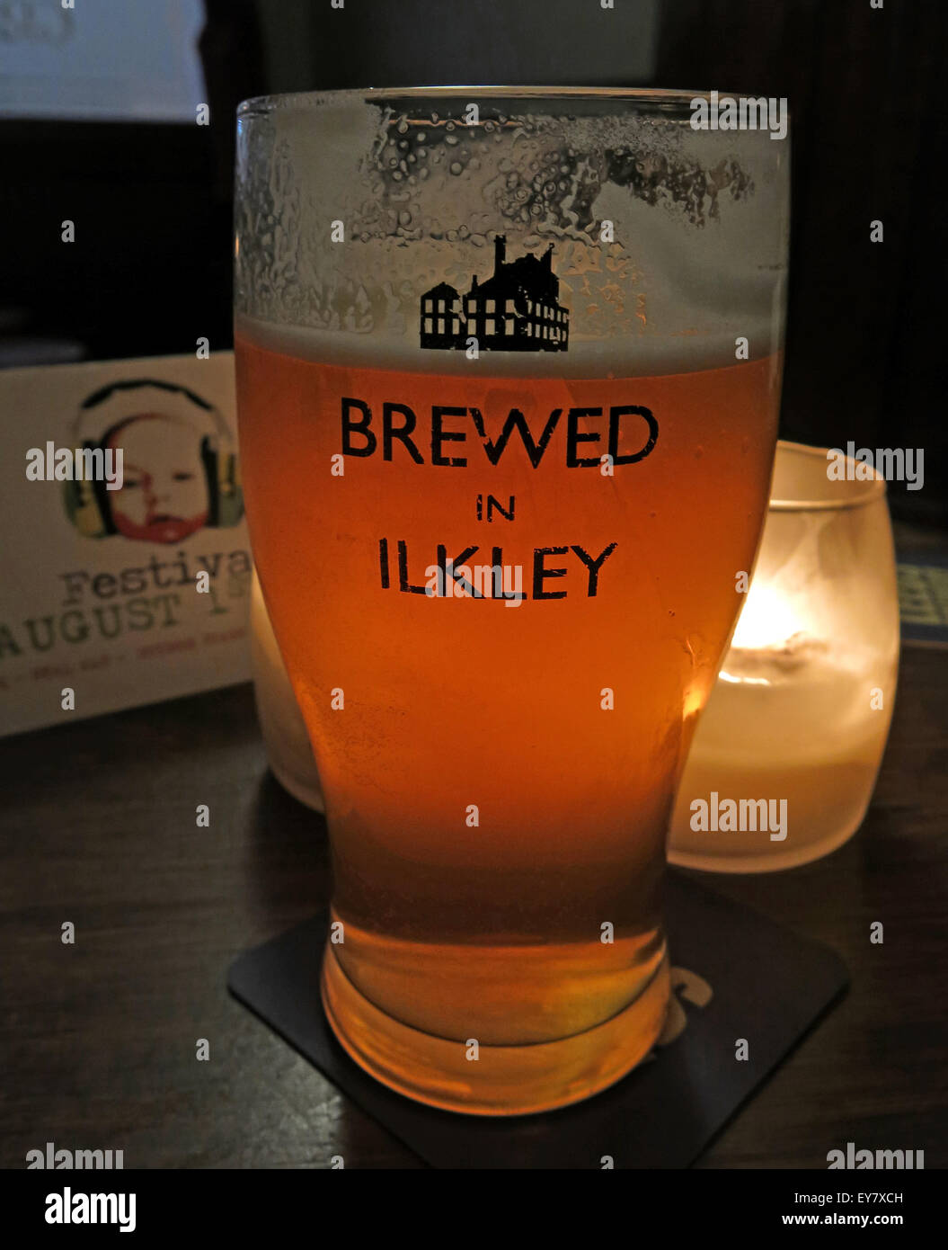 Beer Glass, Brewed in Ilkley logo,Craft brewery, West Yorkshire, England Stock Photo