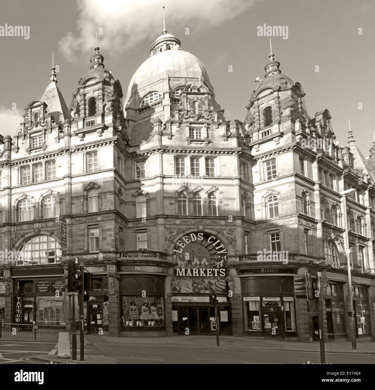 Leeds Kirkgate City Market building panorama, largest covered market in Europe,Vicar Lane - Stock Image