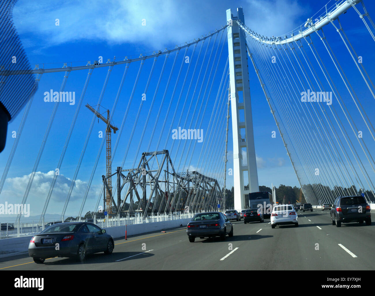 Highway 101 New Bay Bridge construction with old bridge to the side San Francisco  California USA - Stock Image