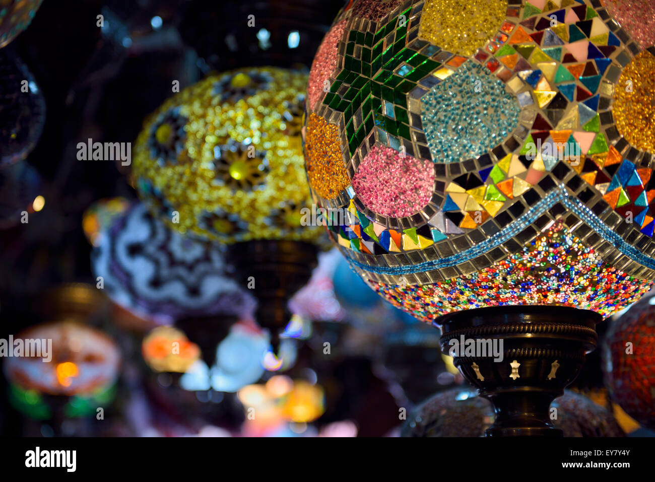 Close up of glass beads of moorish lamps in a shop in Alcaiceria Granada Spain - Stock Image