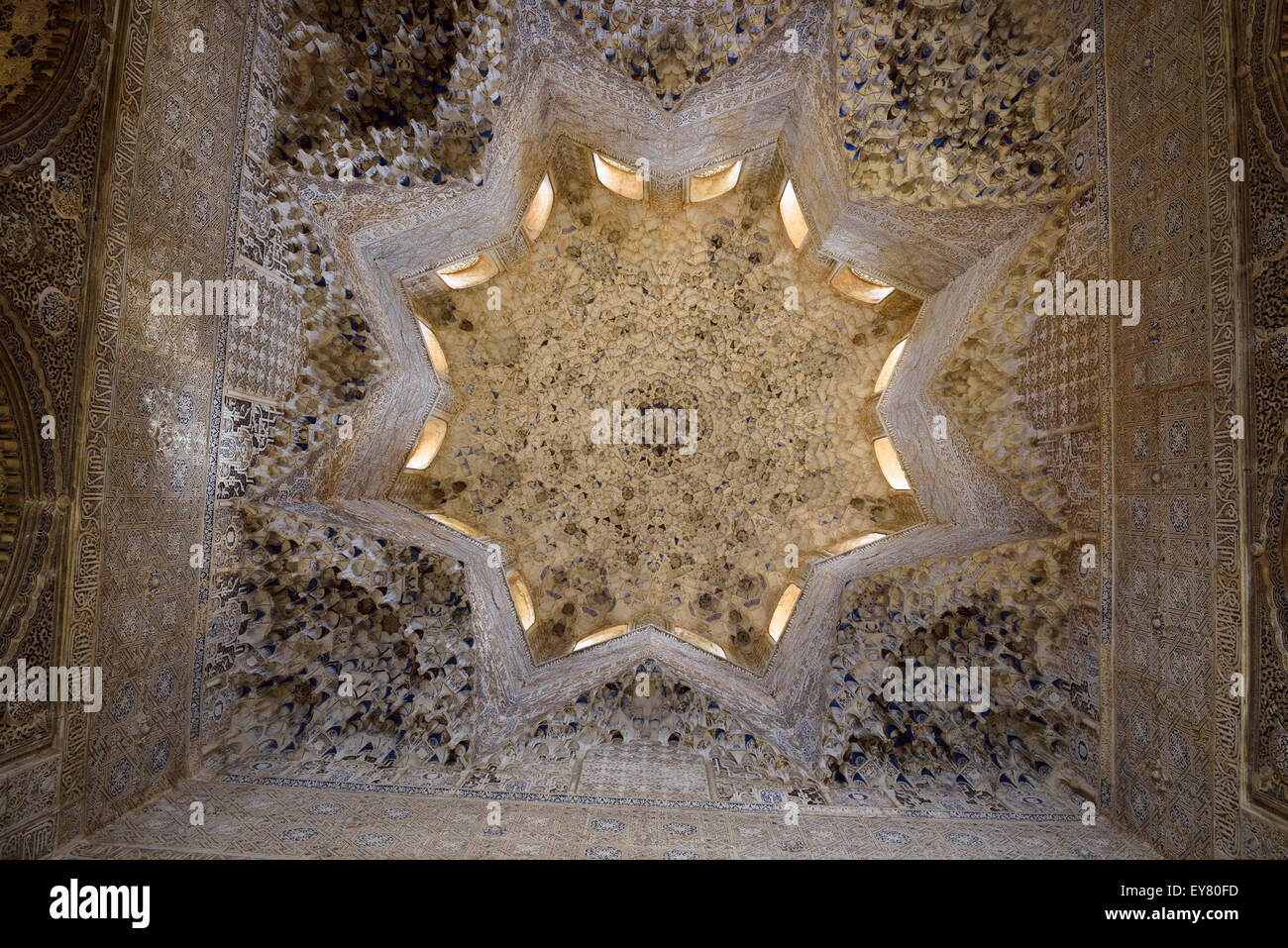 Ceiling of the Hall of the Abencerrages in the Nasrid Palaces of Alhambra Granada Spain - Stock Image