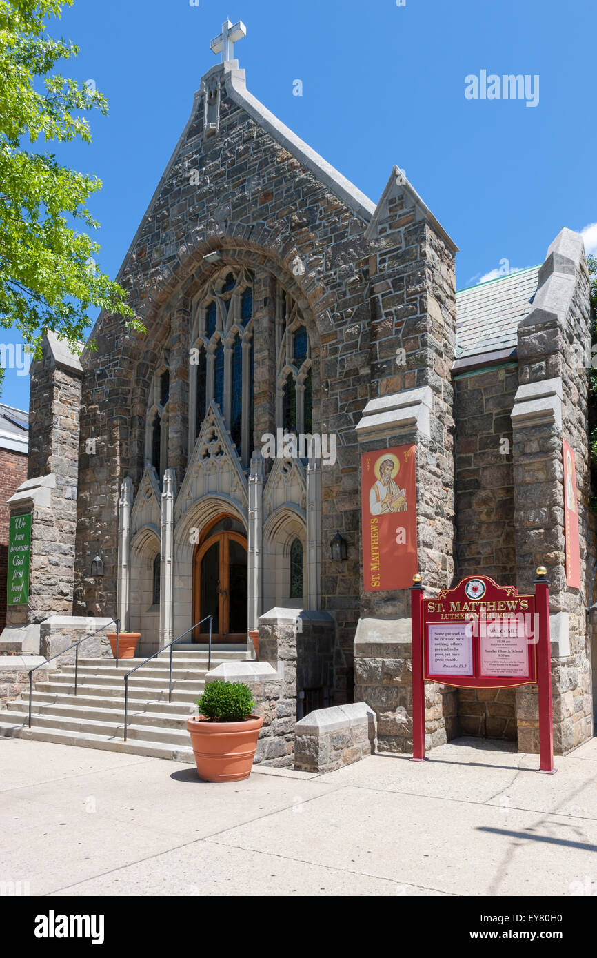 St. Matthew's Lutheran Church in White Plains, New York. - Stock Image