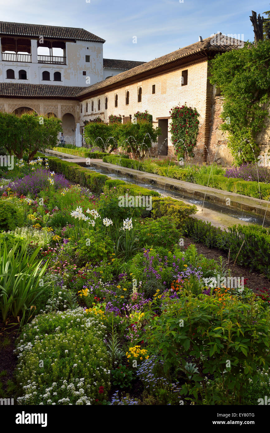 Flower garden in the Court of the Water Channel at the Sultans north Pavillion Generalife Granada - Stock Image