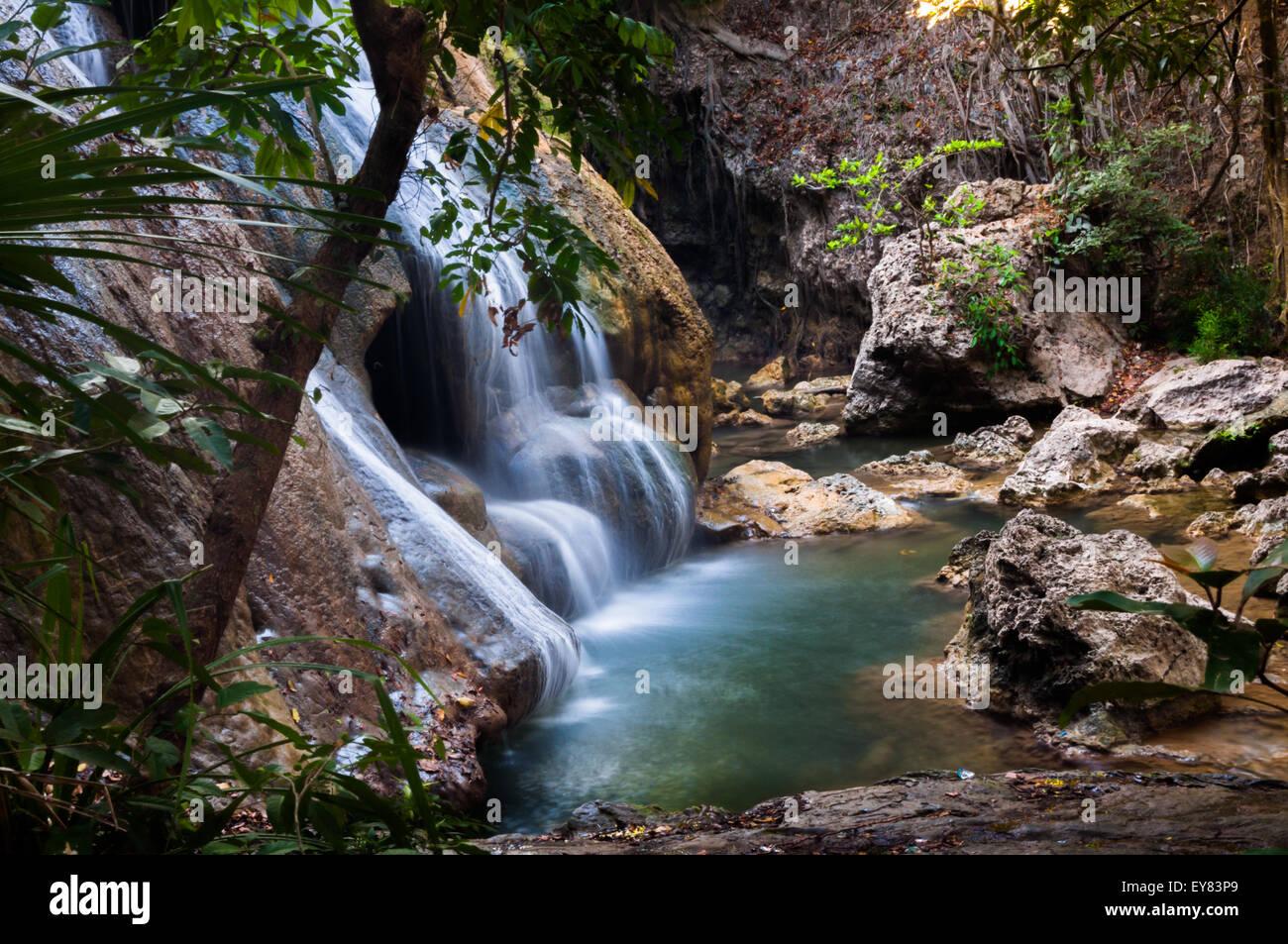 Oenesu waterfall in Kupang, Timor Island, Indonesia. - Stock Image