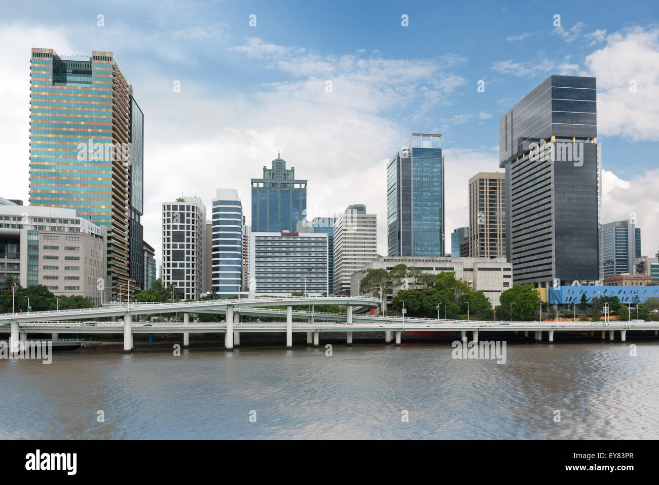 Urban landscape of modern buildings and street by Brisbane River - Stock Image