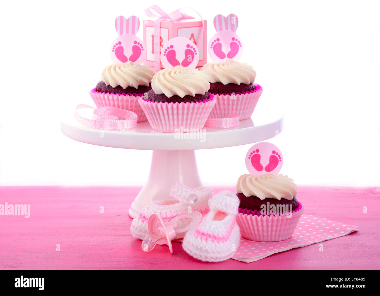 Mesa Baby Shower Nina.Its A Girl Baby Shower Cupcakes With Baby Feet Toppers And