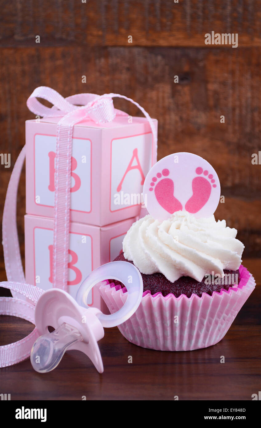 Its A Girl Pink Baby Shower Cupcake And Gift Box On Vintage Dark