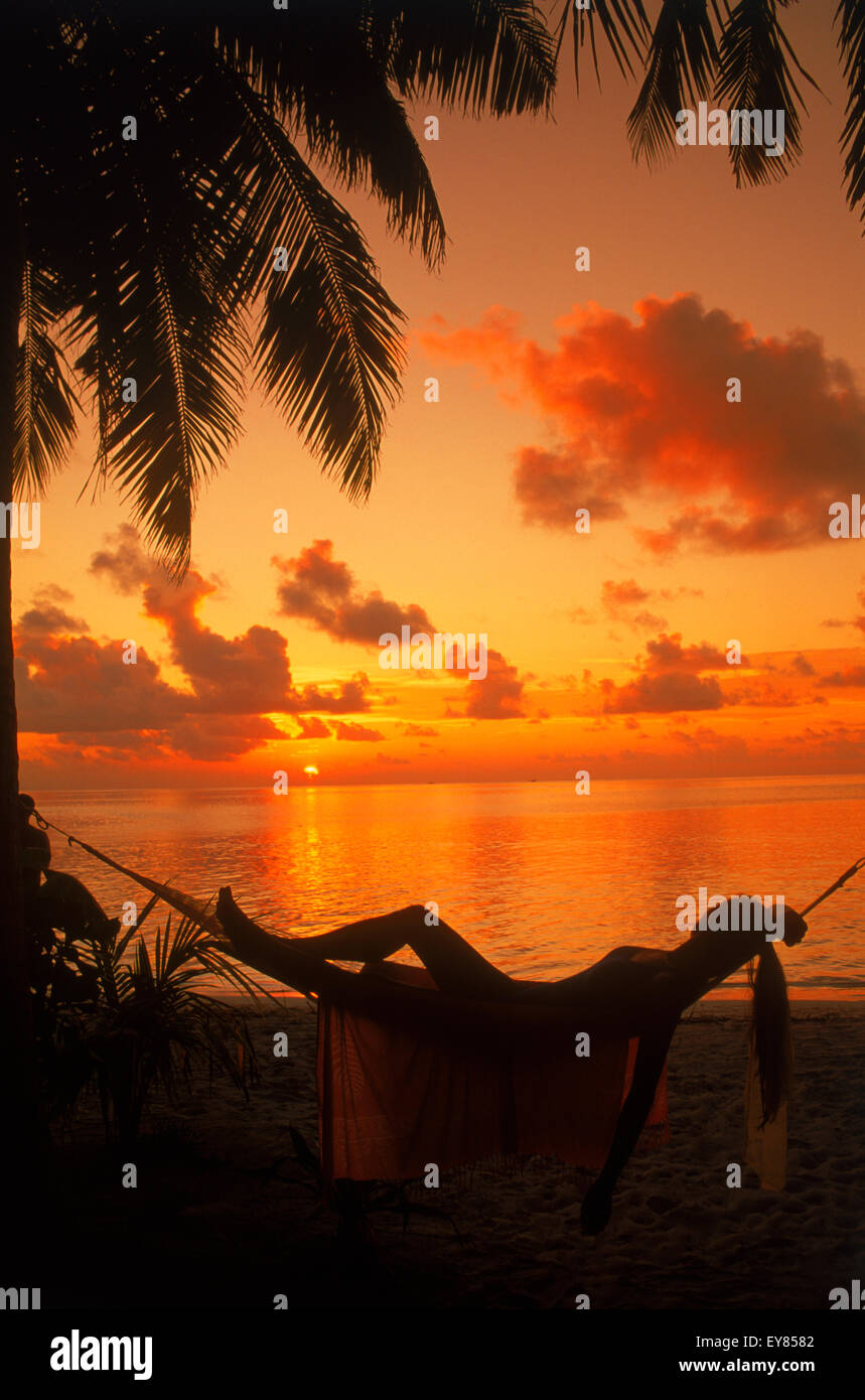 Woman in hammock between palm trees on tropical island holiday at sunset - Stock Image