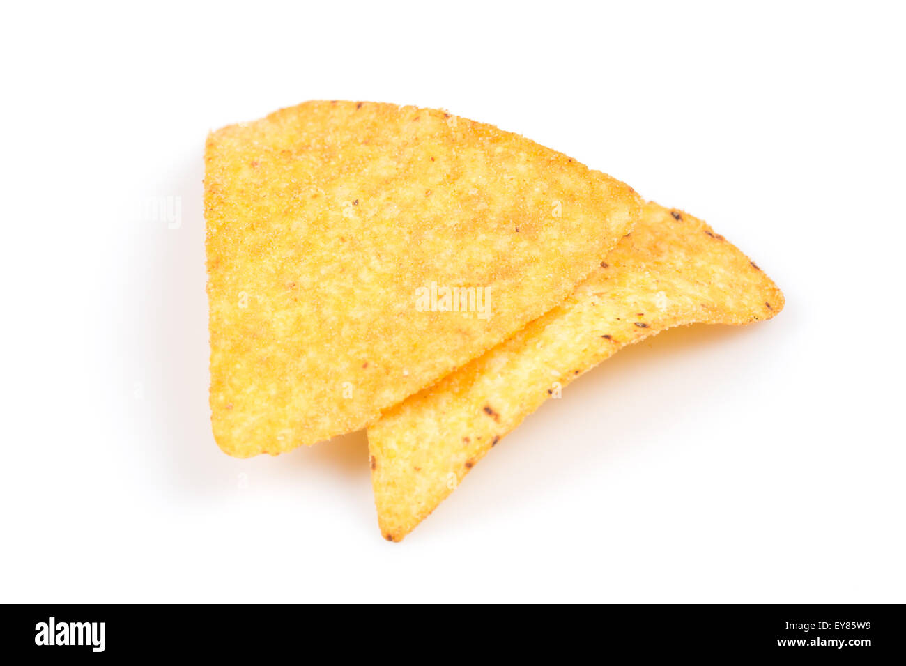 mexican corn nachos chips, isolated on white background - Stock Image