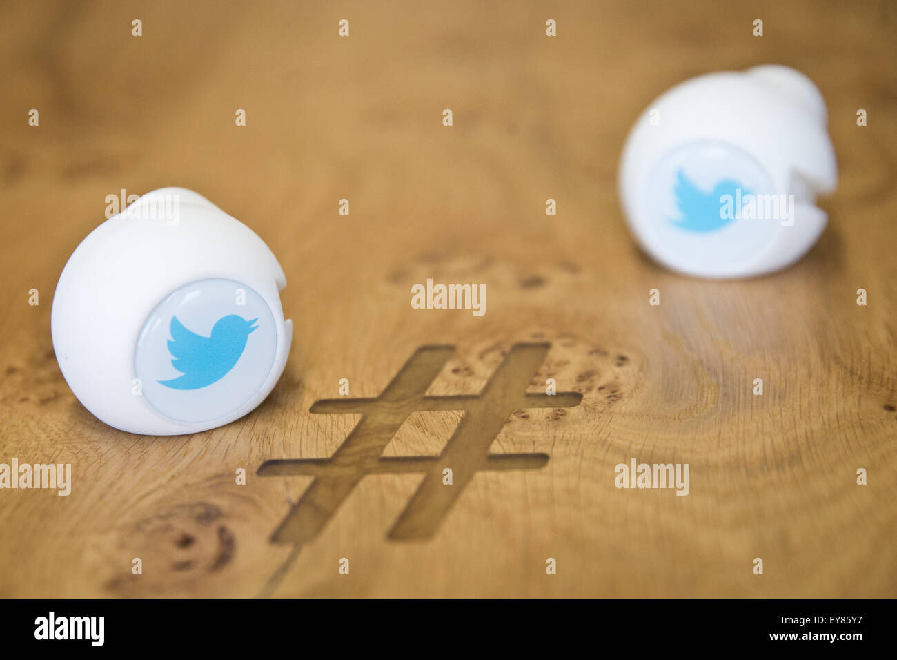 Gadgets With The Logo Of Social Media Service Twitter Are Seen On A