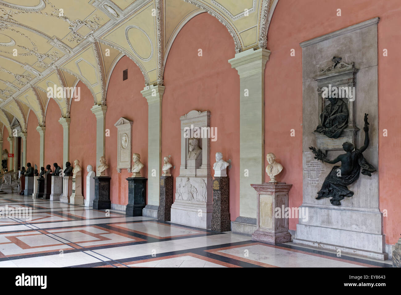 Arcades of the Vienna University, with busts and memorials of important scientists, Ringstraße, Vienna, Austria - Stock Image
