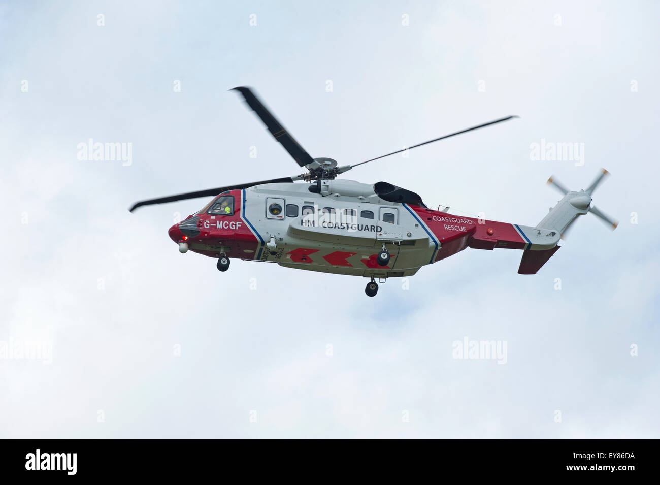 The Scottish Search and Rescue Coastguard S92A helicopter (G-MCGF) based at Inverness.  SCO 10,005. - Stock Image