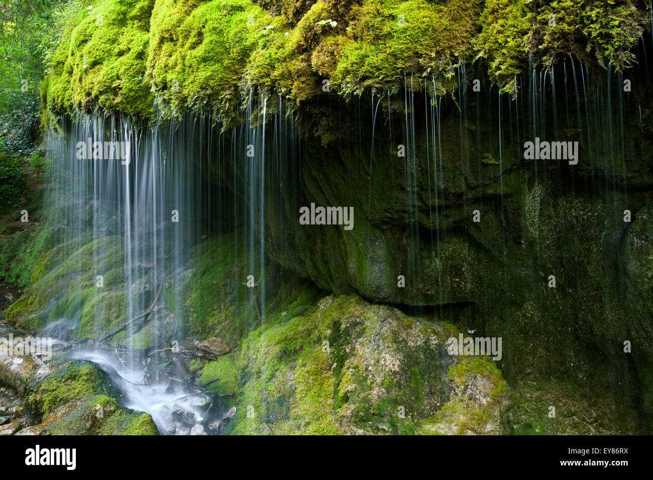 Mossy waterfall, Wutachschlucht gorge, Black Forest, Baden-Württemberg, Germany - Stock Image