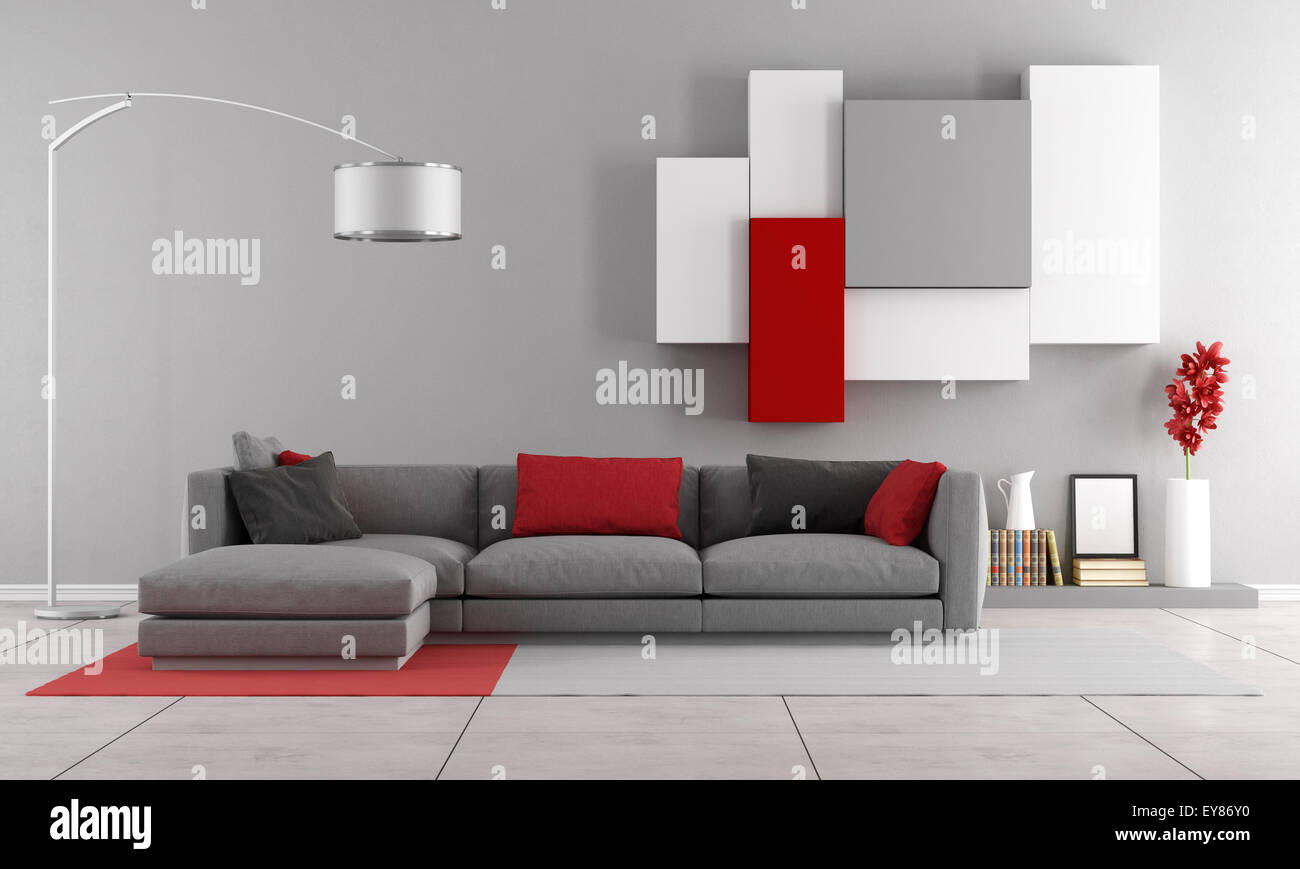 Contemporary lounge with gray sofa and wall unit on background - 3D ...