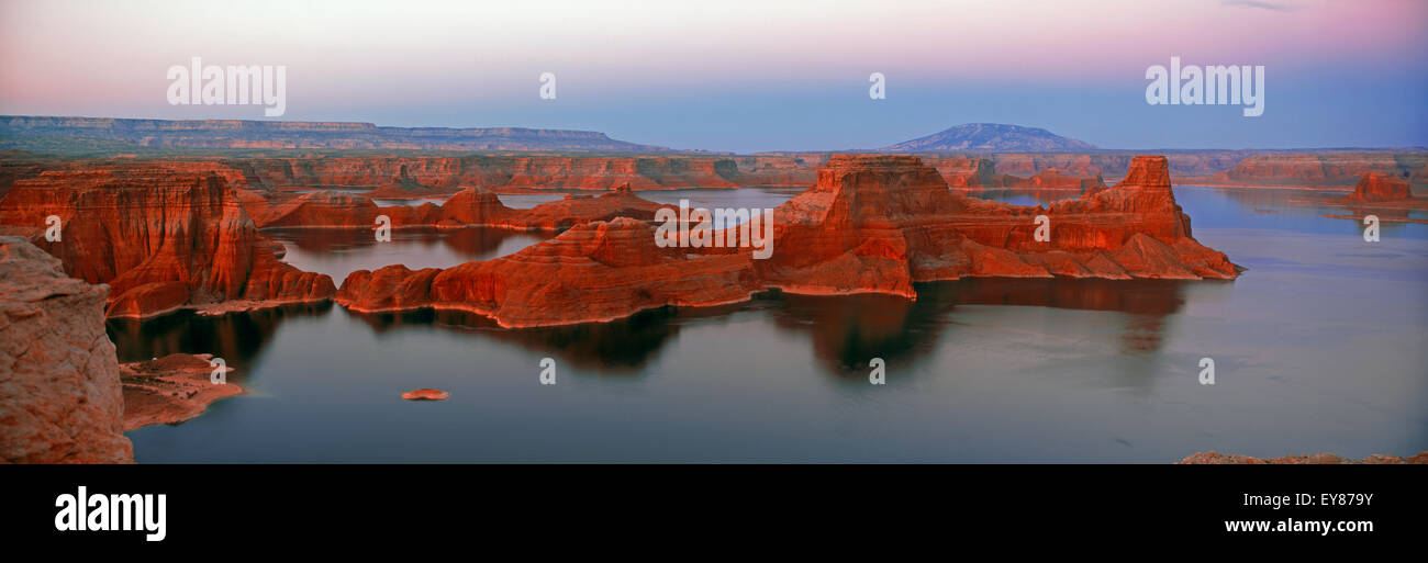 Panoramic shot of Gunsight Butte on the Utah side of Lake Powell in Glen Canyon National Recreation Area at sunset - Stock Image