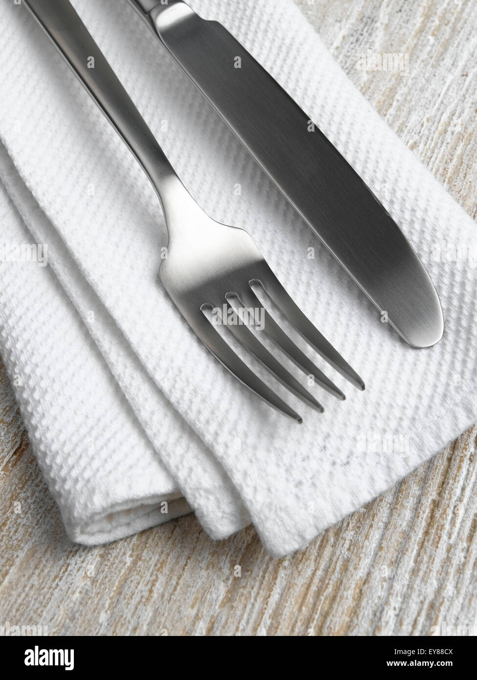 Napkin and cutlery - Stock Image