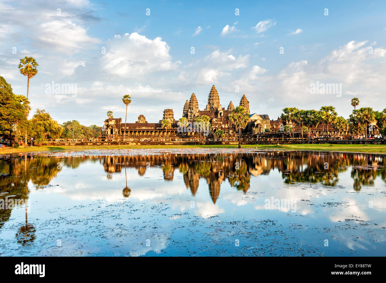 Cambodian landmark Angkor Wat with reflection in water on sunset. Siem Reap, Cambodia - Stock Image