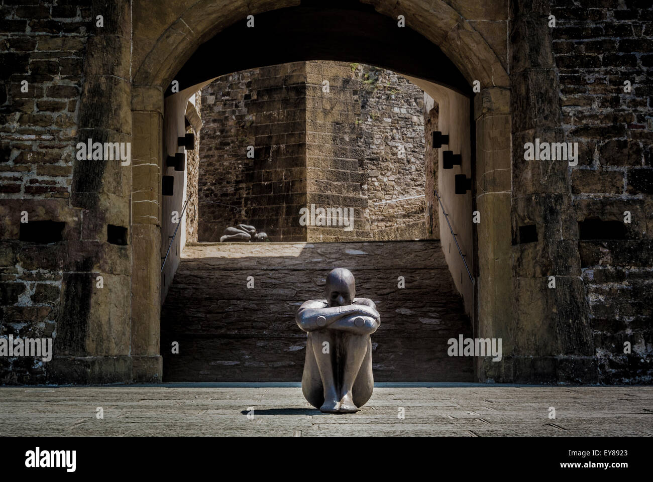 Antony Gormley  HUMAN sculpture exhibition at  Forte di Belvedere, Florence, Italy - Stock Image