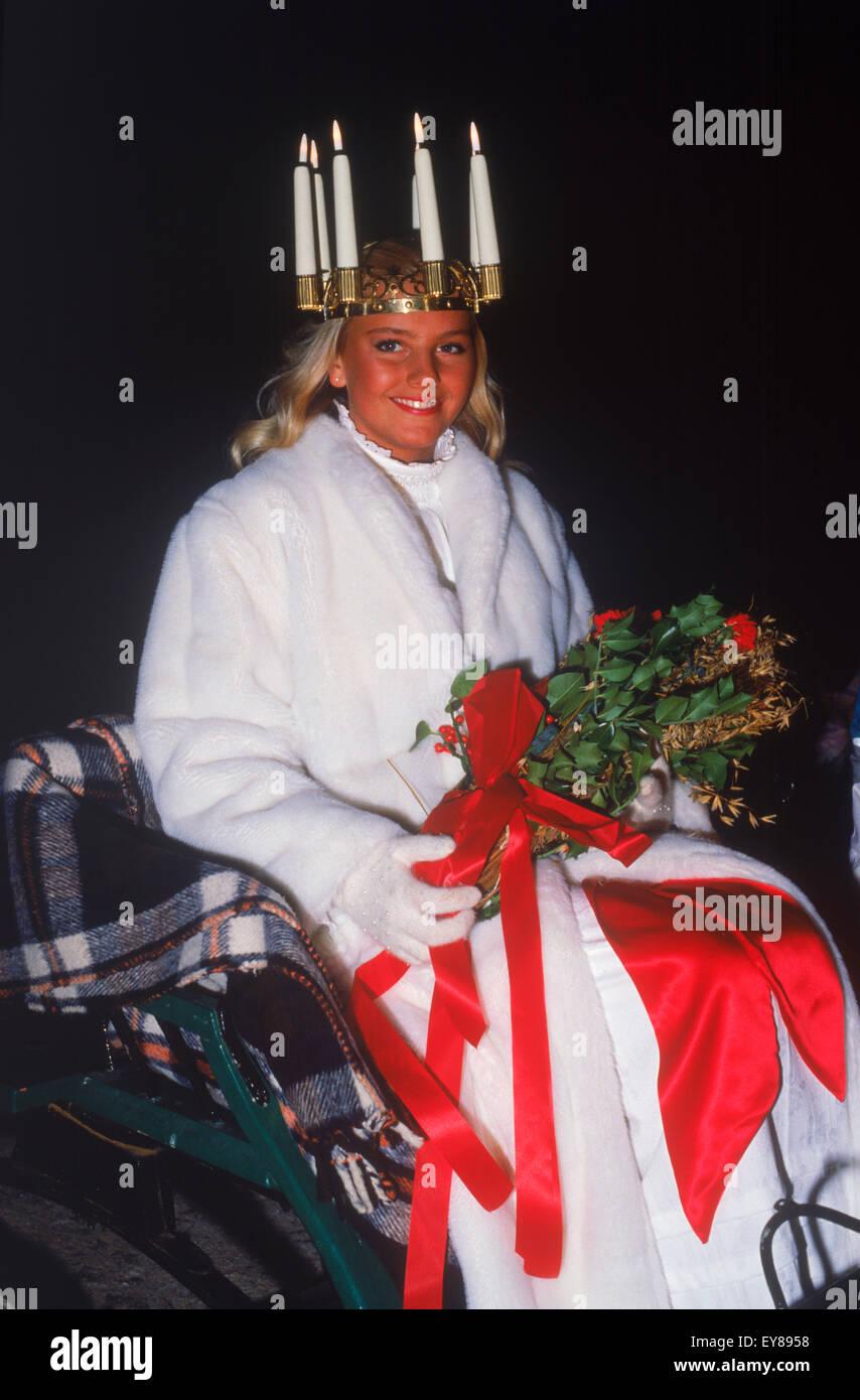 Miss Lucia at Skansen Park in Stockholm on December 13th - Stock Image