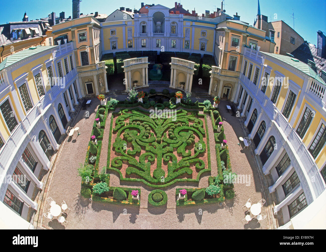 Baroque garden at Tessinska Palace in Old Town of Stockholm - Stock Image