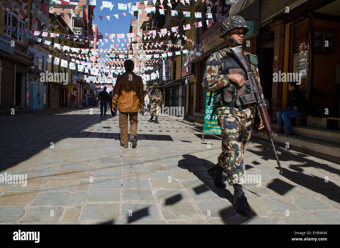 Nepalese army patrol the street during a general strike or Banda - Stock Image