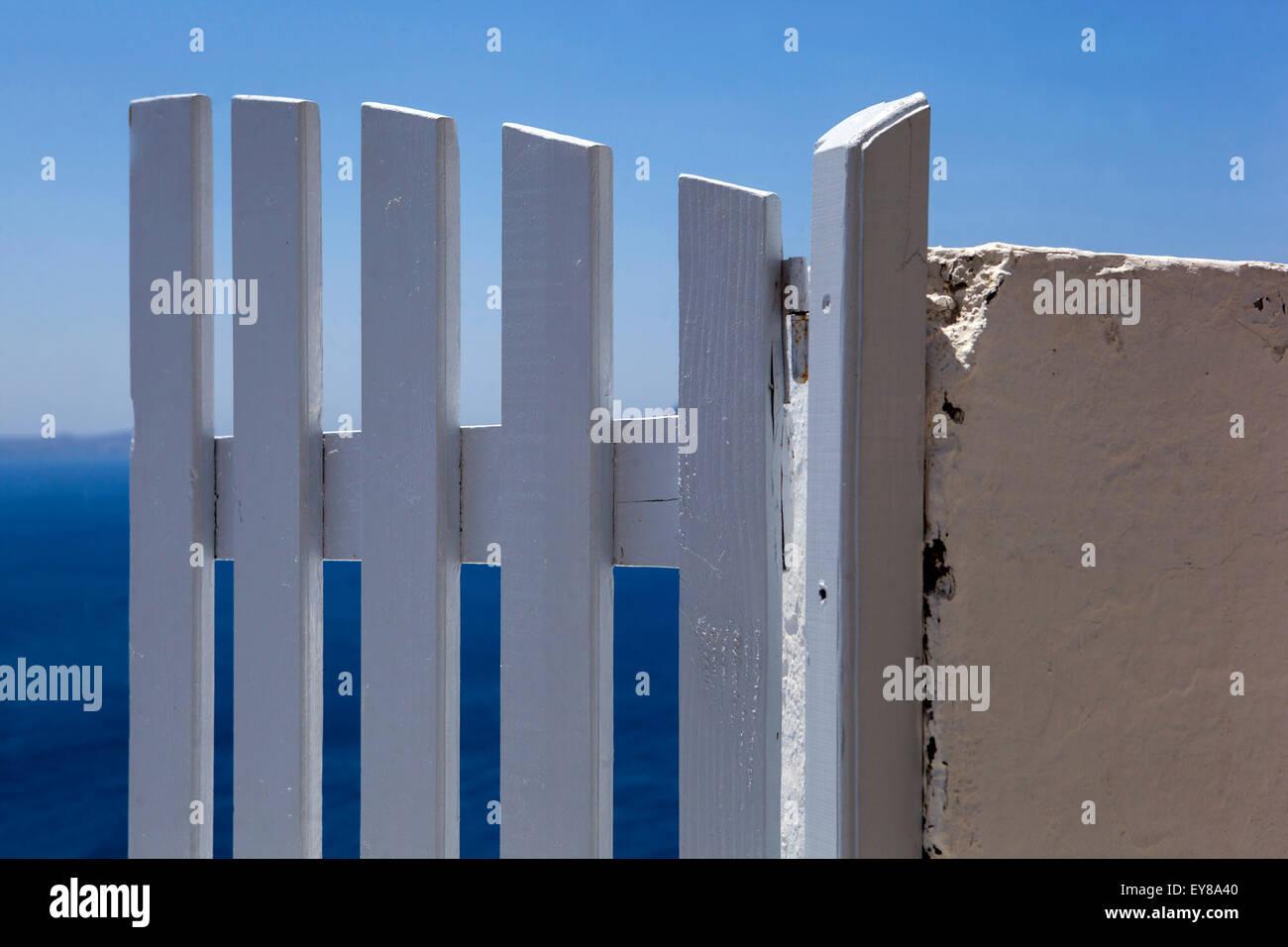 door, Terrace, Santorini, Cyclades Islands, Greece, Europe - Stock Image