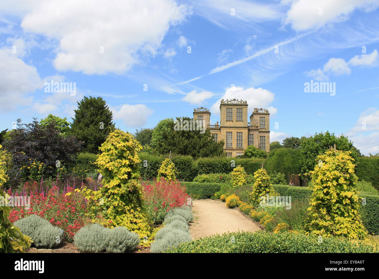 Hardwick Hall, south elevation, Derbyshire, England, UK: an Elizabethan manor house and garden - Stock Image
