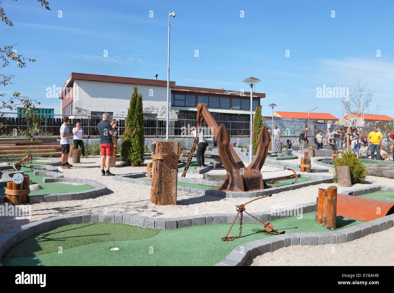 Miniature golf at Hundested Harbour  in North Sealand, Denmark. - Stock Image