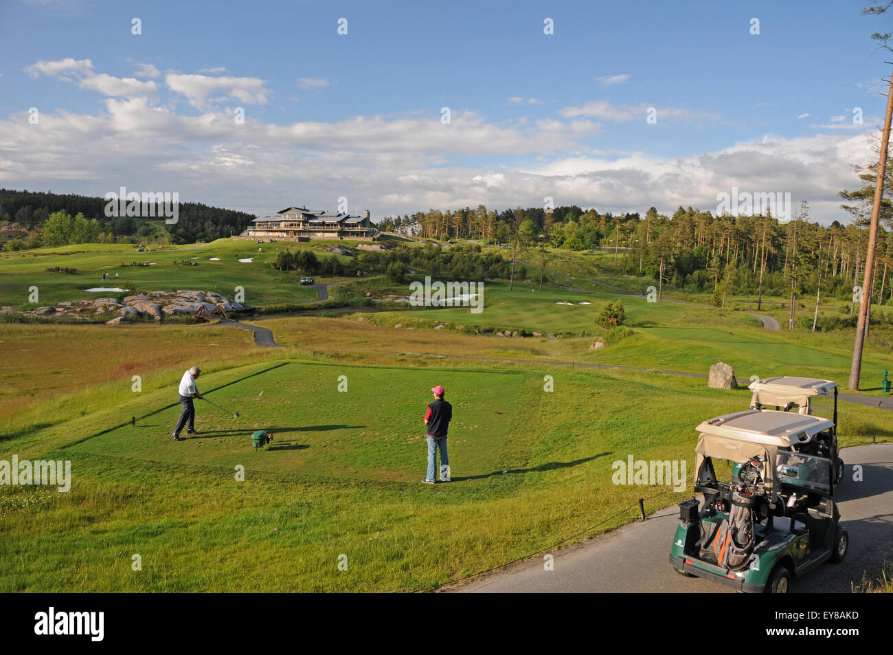 Teeing off at the Hills Golf Club near Gothenburg on the West Coast of Sweden - Stock Image