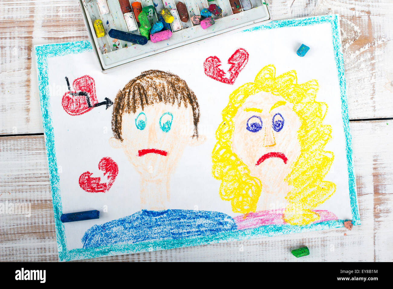 Representation of marriage break up or divorce - colorful drawing - Stock Image