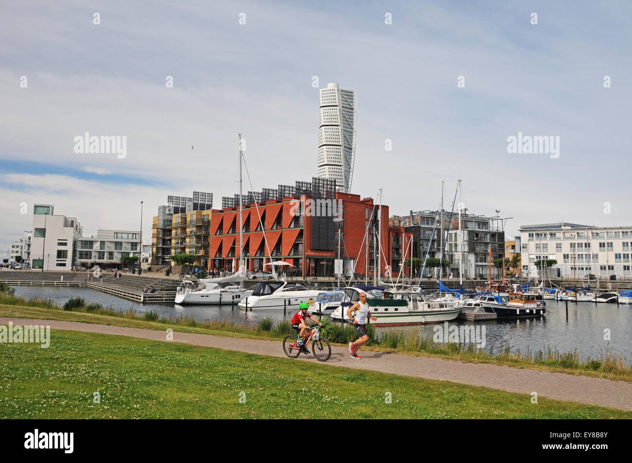 Turning Torso near the Western Harbour above city of Malmö in Skåne Province, the third largest city in - Stock Image