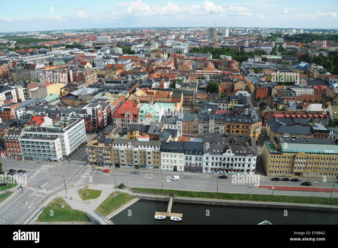 Overview of Malmö, the most populous city in Skåne County, and the third largest city in Sweden - Stock Image
