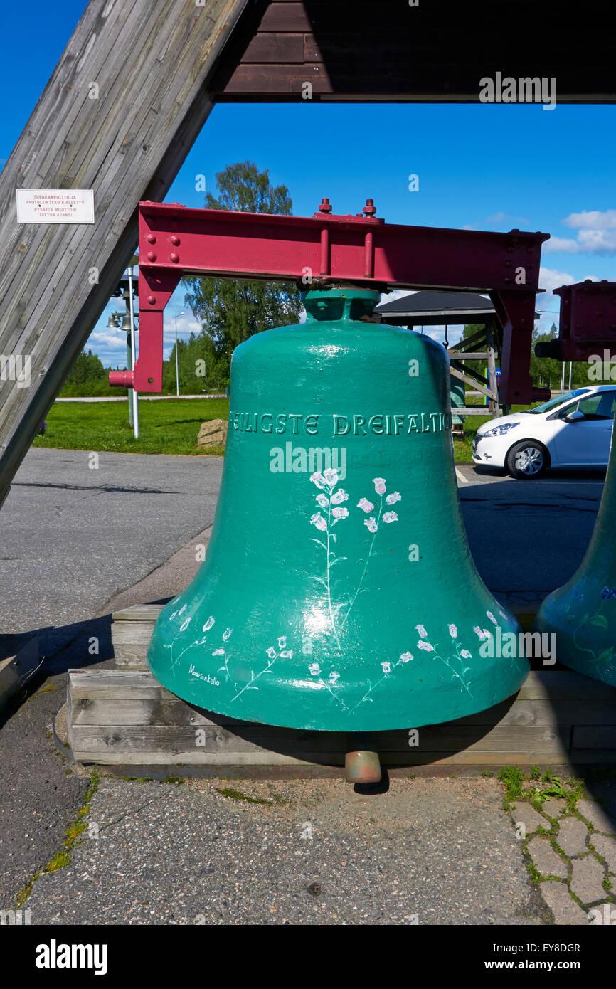 Old church bell on display, Vaskikello Pyhäjärvi Finland - Stock Image