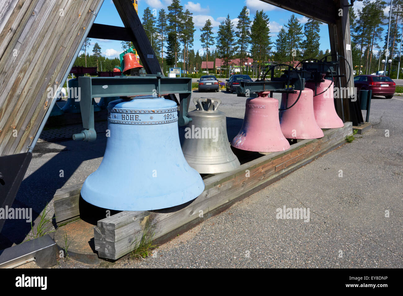 Old church bells on display, Vaskikello Pyhäjärvi Finland - Stock Image