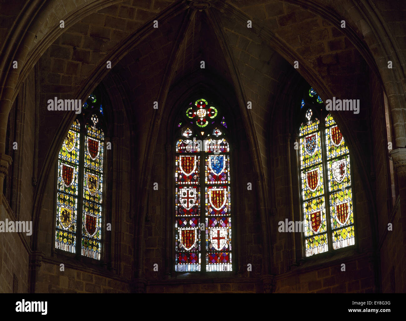 Spain. Barcelona. Chapel of Santa Agata. 14th century. Stained glass. Gothic Quarter. - Stock Image