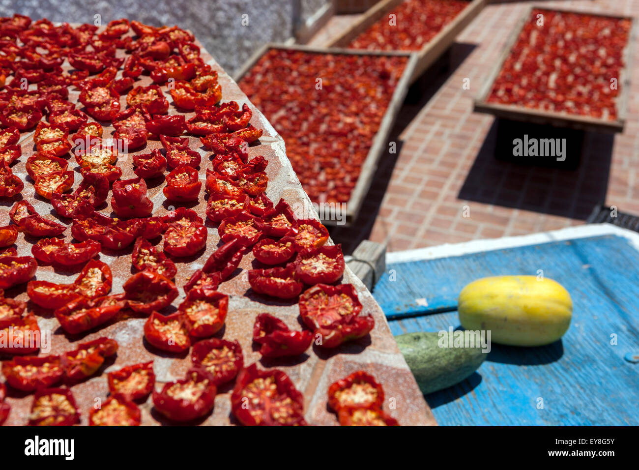 Drying tomatoes on the sun in Greek village Oia, Santorini, Cyclades, Greece food Stock Photo