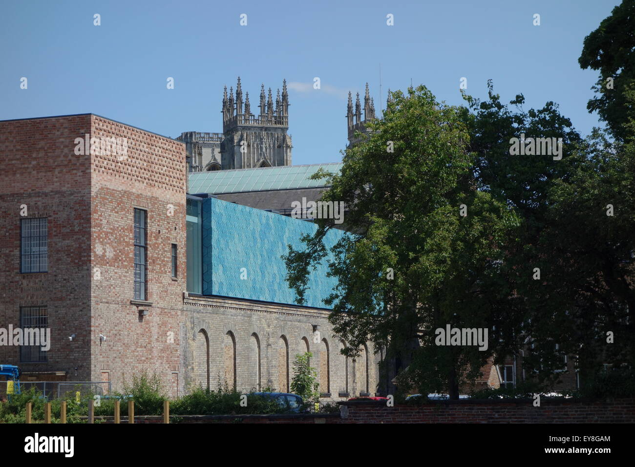 rear view refurbished York City Art Gallery reopened August 2015 late Kathryn Findlay's last commission with - Stock Image