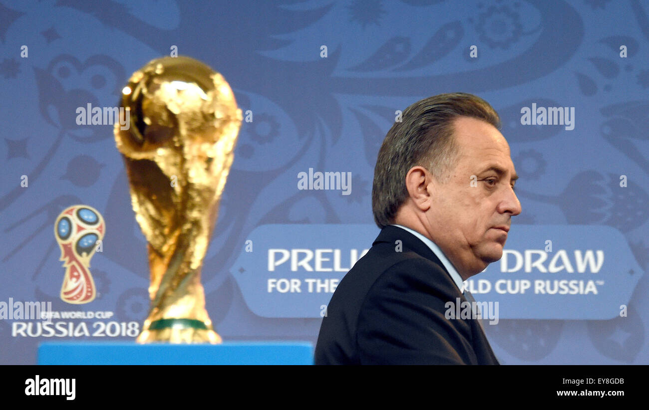 St. Petersburg, Russia. 24th July, 2015. Russian Sport Minister Vitaly Mutko arrives for a FIFA news conference - Stock Image
