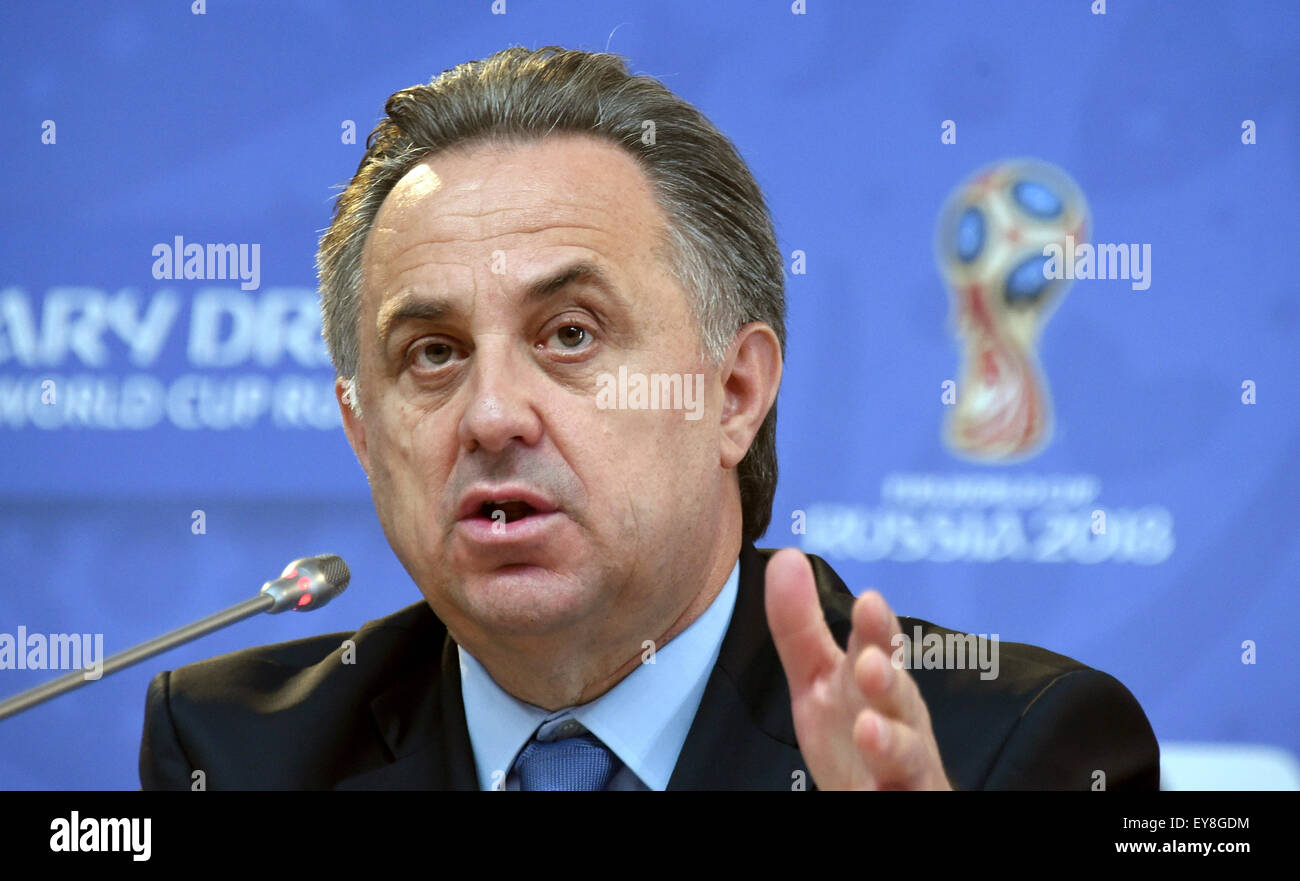 St. Petersburg, Russia. 24th July, 2015. Russian Sport Minister Vitaly Mutko speaks during a FIFA news conference - Stock Image