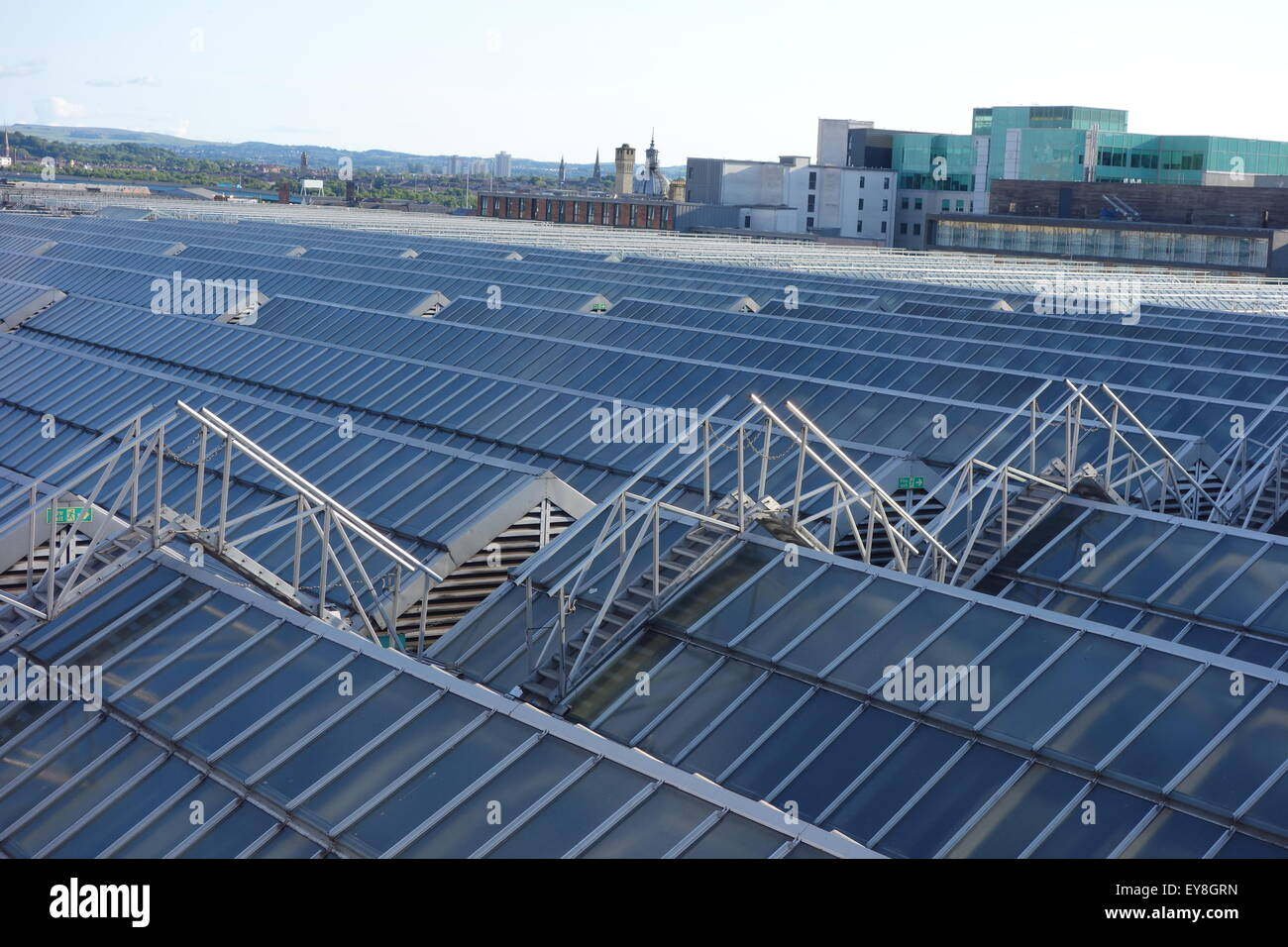 view over part of the roof of Glasgow Central station, largest glass roof in Europe - Stock Image