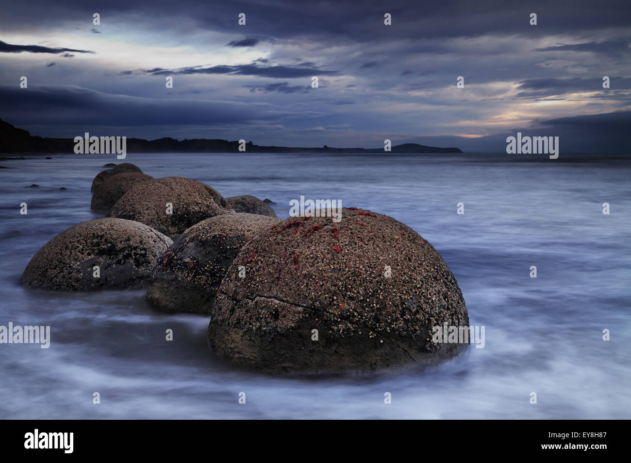 Moeraki Boulders at sunrise, South Island, New Zealand - Stock Image