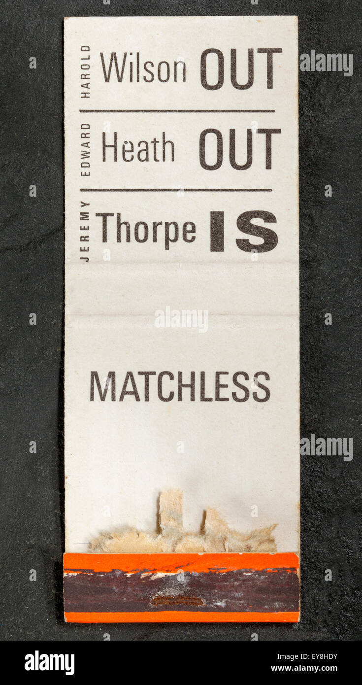 Jeremy Thorpe and Liberal Part Promotional Matchbook Stock Photo