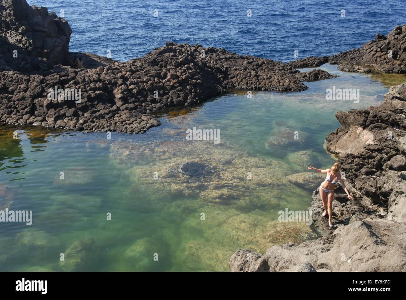 island of Pantelleria (Sicily, Italy), coastal small lake of Ondines - Stock Image
