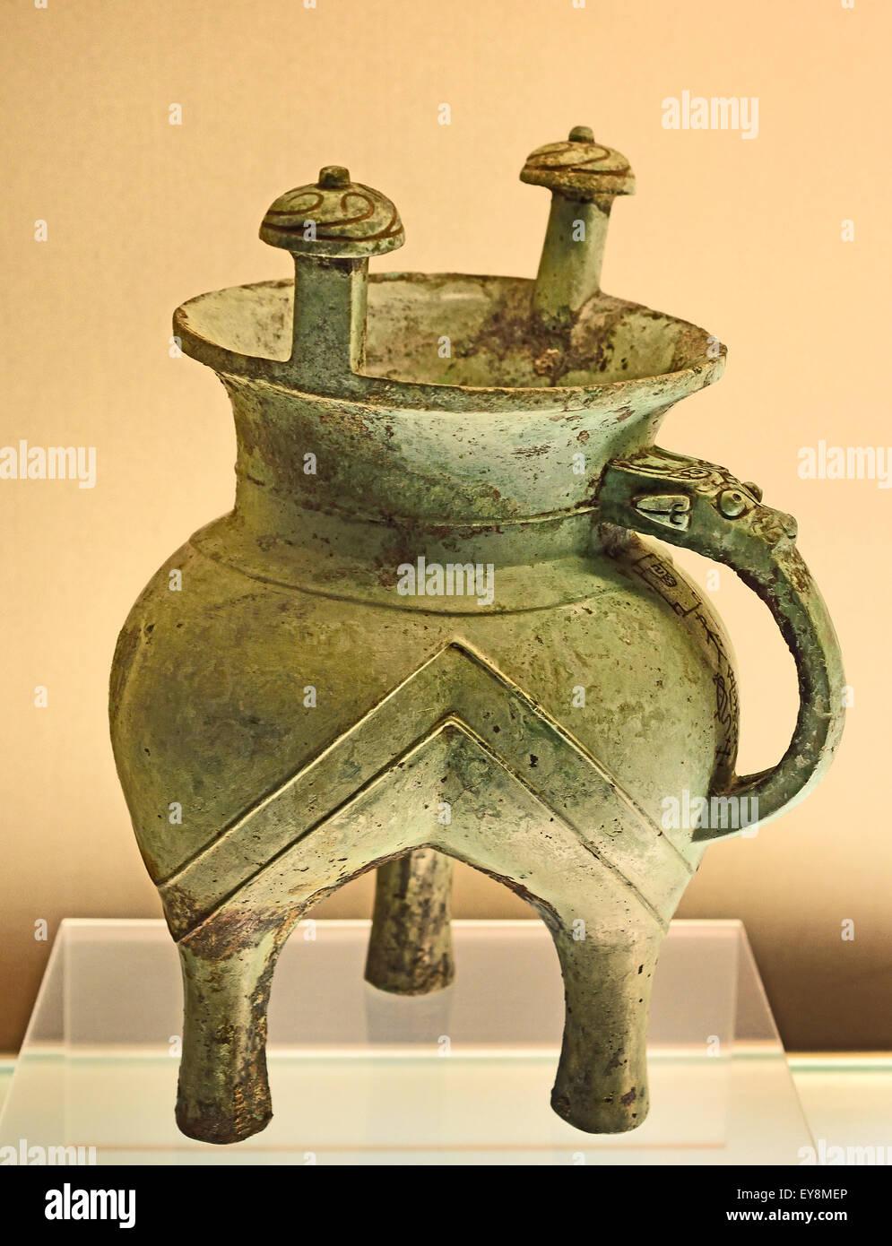 Ya Qi Jia ( wine Vessel ) Early Western Zhou ( 11th century  BC )  Bronze Shanghai Museum of ancient Chinese art - Stock Image