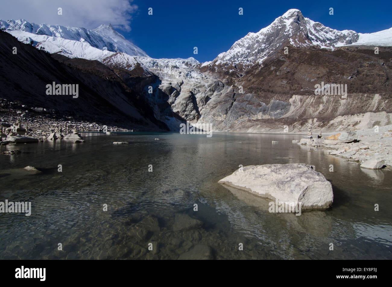 Birendra lake at the botom of the Manaslu glacier Stock Photo